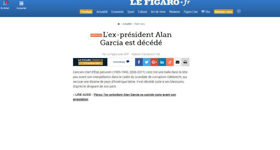 Alan García falleció este miércoles en el hospital Casimiro Ulloa. (Captura: Le Figaro - Francia)