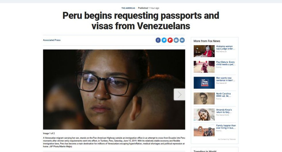 Así informa el medio estadounidense Fox News sobre la exigencia de visa y pasaporte a los venezolanos en el Perú. (Captura)