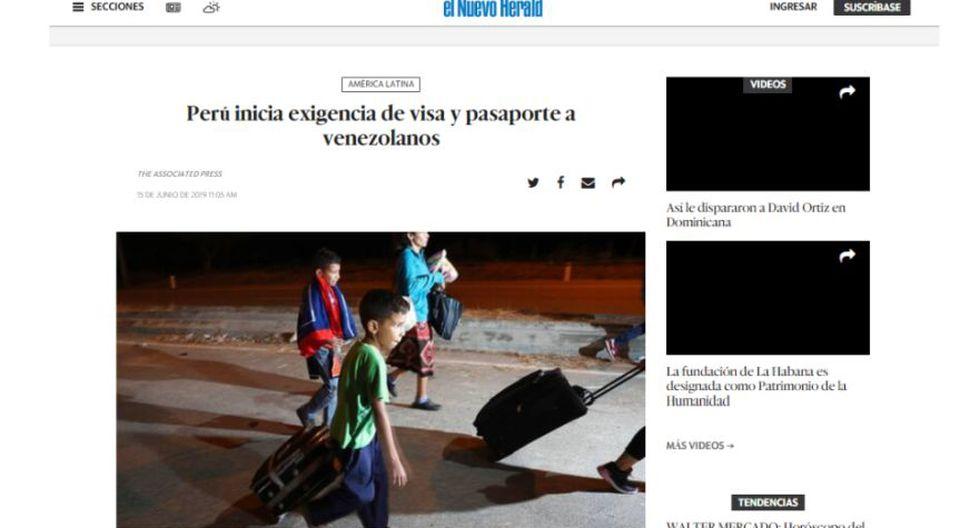 Así informa el medio El Nuevo Herald sobre la exigencia de visa y pasaporte a los venezolanos en el Perú. (Captura)