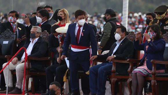 En una ceremonia especial en Ayacucho, Guido Bellido juró este 29 de julio como presidente del Consejo de Ministros. (Foto: Alessandro Currarino/El Comercio).