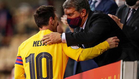 Lionel Messi y Joan Laporta en el FC Barcelona. (Getty)