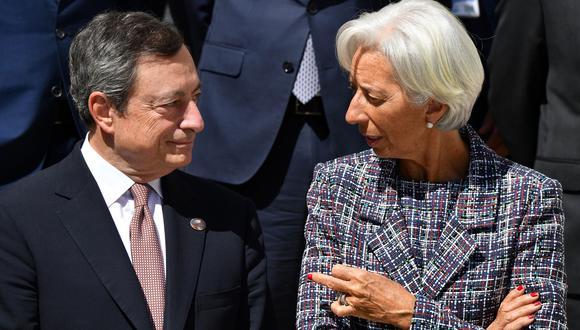 Christine Lagarde y Mario Draghi.
