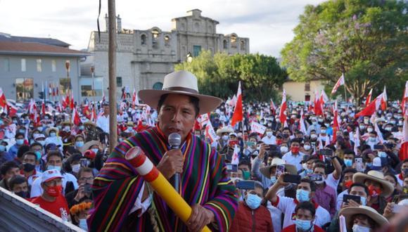 Pedro Castillo durante un mitin en Cajamarca. (Foto: Perú Libre).