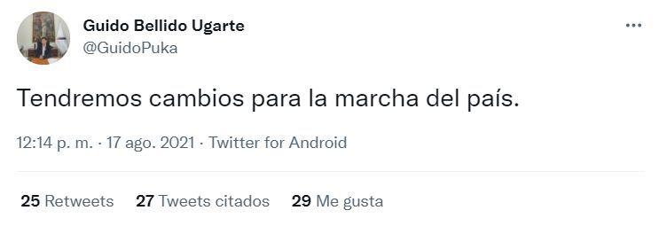 Guido Bellido dijo que habrá cambios a través de Twitter.