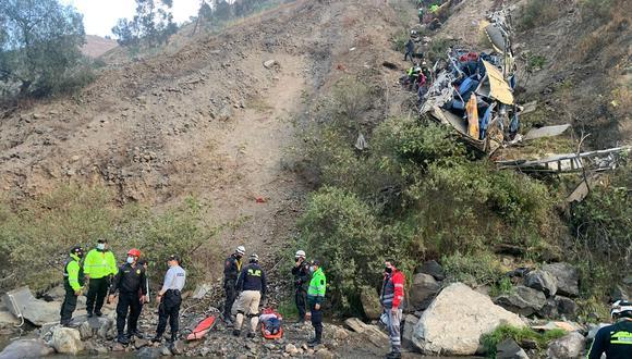 Aplican sanciones contra empresa León Express tras caída de bus al abismo en Matucana . (Foto: Félix Ingaruca/@photo.gec)