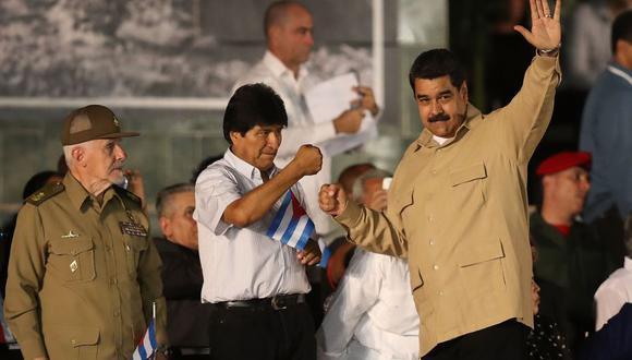Nicolás Maduro y Evo Morales participando en un evento del Foro de Sao Paulo, celebrado en La Habana, Cuba.
