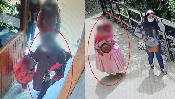 Las cámaras de vigilancia registraron a la turista con diferentes vestimentas el día de su visita. (Difusión)