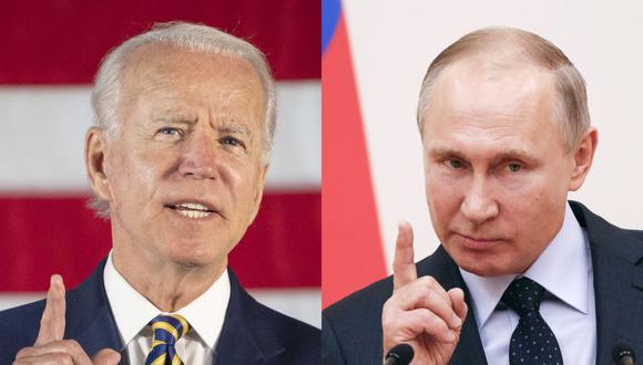 El presidente de Estados Unidos, Joe Biden (Izq.) y su homólogo de Rusia Vladimir Putin. (Foto: Jim WATSON and Grigory DUKOR / AFP).