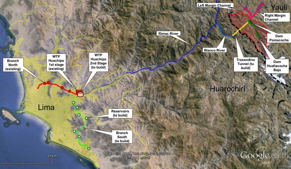 Obras de Cabecera y Conducción para el Abastecimiento de Agua Potable para Lima (Fuente: ProInversión)
