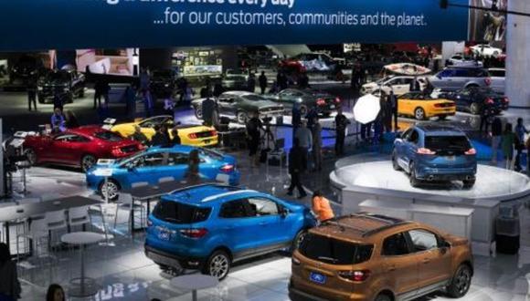Interior del salón del automóvil de Detroit, el 16 de enero de 2018. (AFP).
