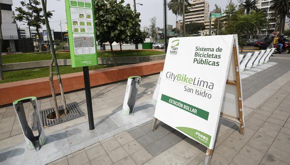 En el 2018 se firmó el contrato de bicicletas públicas en San Isidro. La empresa Citybike Lima instaló las estaciones. (Piko Tamashiro)