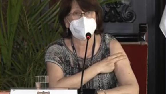La titular de Salud, Pilar Mazzetti, comentó que colocarse la vacuna contra el COVID-19 u otras enfermedades es una manera de hacer prevención y promoción de salud. (Foto: Captura TV Perú)