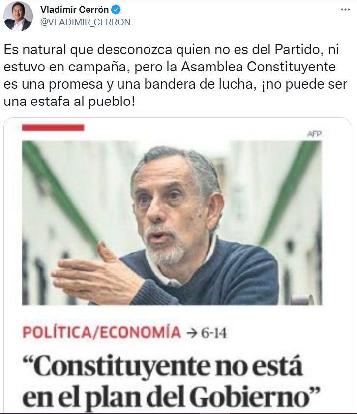 Vladimir Cerrón respondió a Pedro Francke.