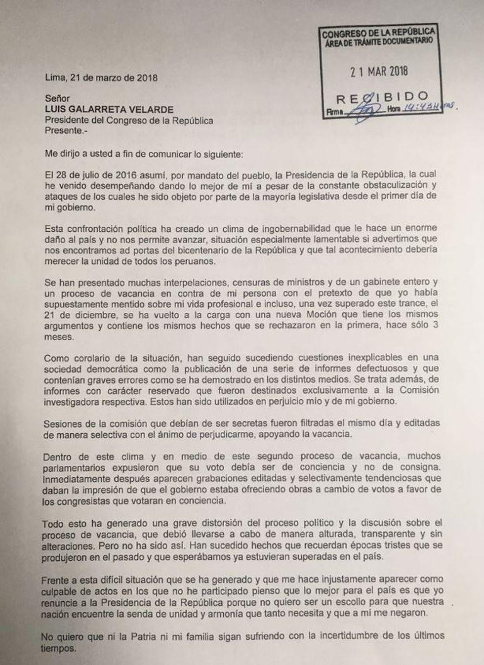 Carta de la renuncia de PPK