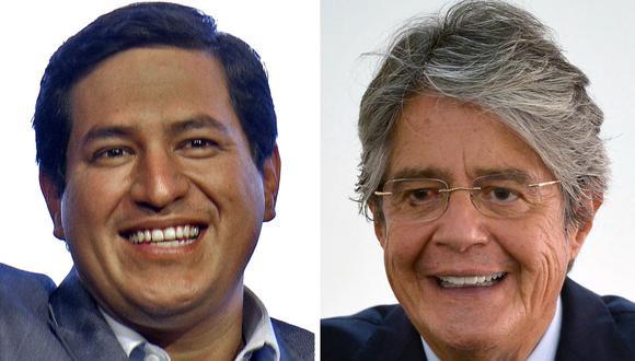 Imagen de los candidatos ecuatorianos  Andrés Arauz (izquierda) y Guillermo Lasso (derecha). (Rodrigo BUENDIA / AFP).
