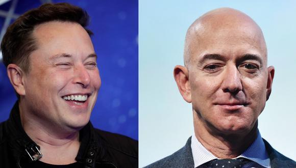 Elon Musk y Jeff Bezos. (Foto: AFP)