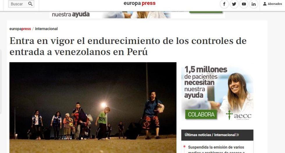 Así informa el medio Europa Press sobre la exigencia de visa y pasaporte a los venezolanos en el Perú. (Captura)