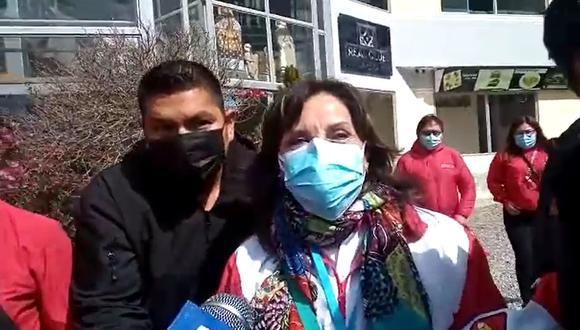 Dina Boluarte se reunió con Pedro Castillo esta mañana en Breña. (Foto: GEC).