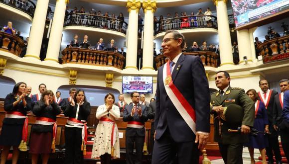 Martín Vizcarra da Mensaje a la Nación desde el Congreso. (Foto: Andina)