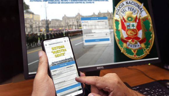 Policías actualizan sus datos vía web para vacunarse contra el COVID-19. (Foto: Mininter)