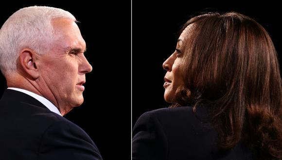 Mike Pence y Kamala Harris debatieron durante 90 minutos en Salt Lake City, Utah. (Fotos: Justin Sullivan / POOL / AFP).