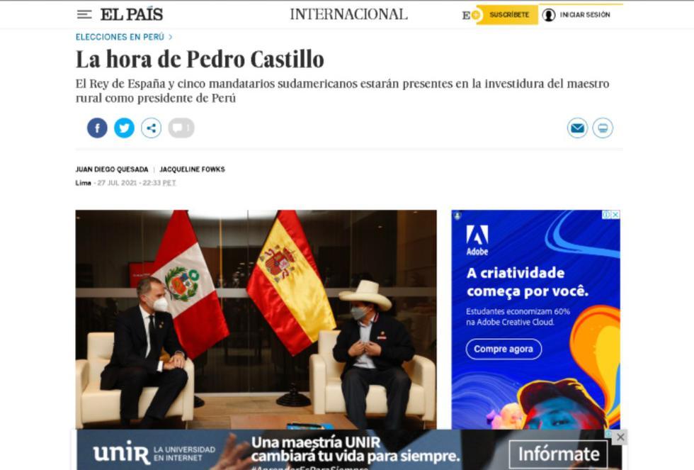 """""""A Pedro Castillo le ha llegado la hora. El maestro de una pequeña escuela en los Andes reunió a su familia y a un pastor evangélico alrededor de la mesa de la cocina de casa, a principios de año, para anunciarles que se presentaba como candidato a la presidencia"""", reseña el diario El País. (Foto: captura de pantalla   EL PAÍS)"""