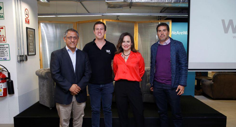 De izquierda a derecha: Ciro Aguilar de Telefónica, Jaime Sotomayor de Wayra Perú, Sandra Rubio de Imix y Juan Francisco Rosas de The Board.