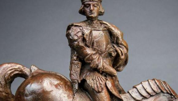 La obra representa a un noble en un caballo que se aleja, supuestamente el mecenas de Da Vinci, Charles d'Amboise, un gobernador francés de Milán, con toda su indumentaria militar.