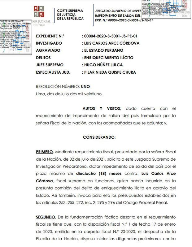 Luis Arce Córdova es investigado por presunto enriquecimiento ilícito.