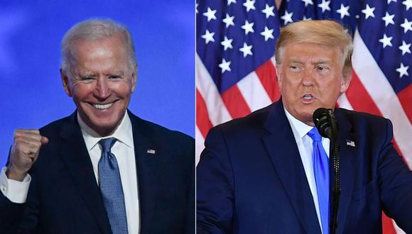 Pensilvania certificó a Biden, que ganó el voto popular del estado, como su ganador esta semana. Según la ley del estado, el candidato que gana el voto popular obtiene los 20 votos electorales del territorio. (Photos by ANGELA  WEISS and MANDEL NGAN / AFP)