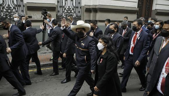 Pedro Castillo se dirigió al Congreso para jurar al cargo y dar su primer mensaje a la Nación. (Foto: GEC)