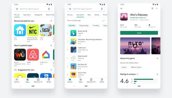Google actualiza su Play Store con un diseño sencillo y más práctico. (Foto: Google)