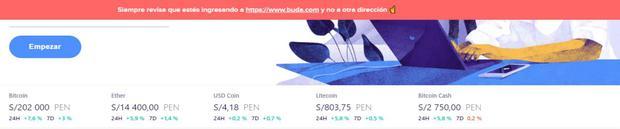 El movimiento de los precios de las criptomonedas es constante. Así se puede apreciar en Buda.com (Imagen: Buda.com)