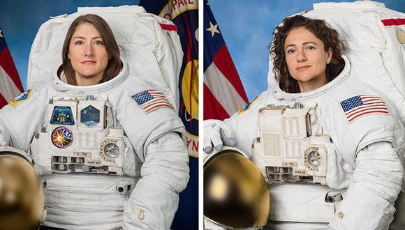 La primera salida conjunta de dos mujeres astronautas, Christina Koch (izq.) y Anne McClain, estaba prevista para marzo, pero la NASA tuvo que postergarla porque no tenían los trajes preparados. (Foto: EFE)