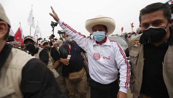 Pedro Castillo participó en un mitin esta mañana en Ayacucho. (Foto: GEC)