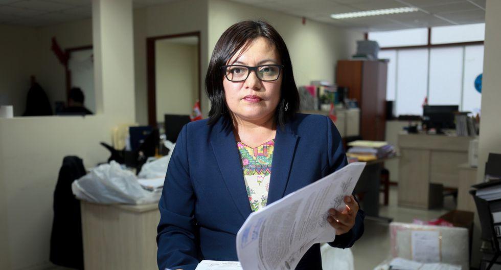 """""""Hay un total de 27 personas investigadas. De ellas , aproximadamente 10 son ex funcionarios, una empresa (Enagás) y abogados"""", señaló  la fiscal Geovana Mori. (Foto: Juan Ponce)"""