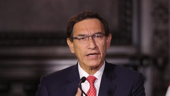 El presidente Martín Vizcarra ofreció un mensaje a la nación tras difusión de audios del Caso Richard Swing en el Congreso. (Foto: Andina)
