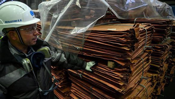 El cobre a tres meses en la LME subía un 2.1%. (Foto: AFP)