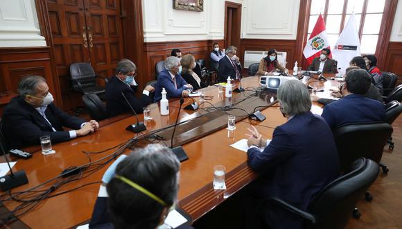 Reunión del último martes entre el presidente del Consejo de Ministros, Vicente Zeballos, con representantes de los principales gremios empresariales (FOTO: PCM).