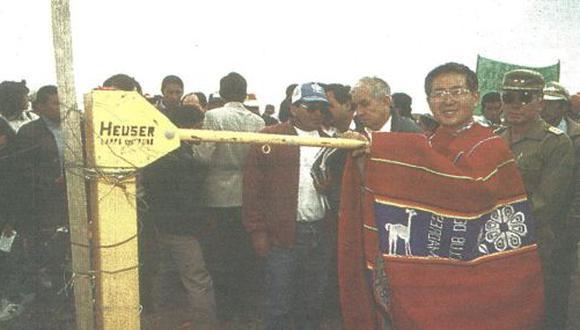 """El presidente Alberto Fujimori realizó ayer una gira en Puno, e inauguró en Juliaca el puente """"Maravilla"""", que comunicará esta ciudad con el norte del Cusco."""