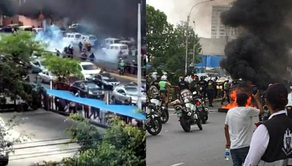 Manifestantes queman llantas en la Javier Prado en paro de taxis colectivos. Foto: Redes sociales