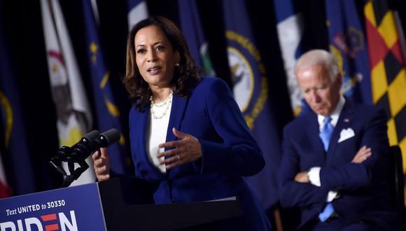 Kamala Harris pronuncia su primer discurso como candidata a la vicepresidencia de Estados Unidos. (Foto: Olivier DOULIERY / AFP).