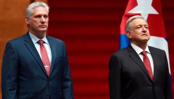 El presidente de México, Andrés Manuel López Obrador (derecha), junto a Miguel Díaz-Canel, su homólogo de Cuba (izquierda). (Foto: Getty Images)