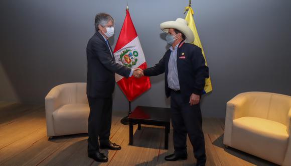 """""""Agradezco la visita del presidente de Ecuador, Guillermo Lasso"""" señaló Castillo. (Foto: Twitter)"""