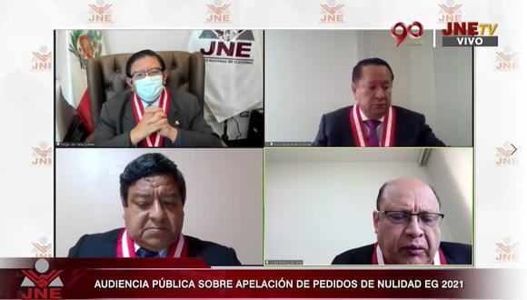 El pleno del JNE sufrió una modificación importante esta semana en pleno proceso electoral. (JNE TV)
