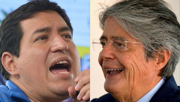 Andrés Arauz (izquierda), ganó la primera vuelta con 32.72% de los votos, seguido de Guillermo Lasso (con 19.74%) y del líder indígena de izquierda Yaku Pérez (19.39%). (Foto: Rodrigo BUENDIA / AFP).