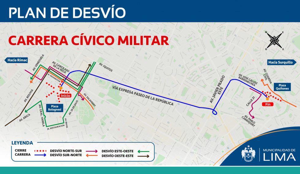 La restricción vehicular se realizará desde las 7 a.m. hasta el mediodía y comprenderá varias avenidas. (Infografía: Municipalidad de Lima)