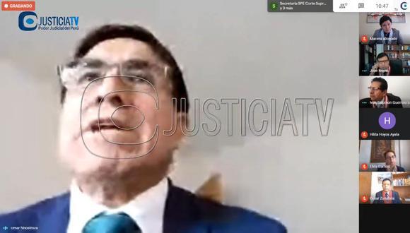César Hinostroza participó por videoconferencia en la audiencia del Poder Judicial.