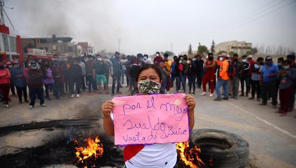Los manifestantes en Ica bloquearon la Panamericana Sur. (Foto: Hugo Curotto | GEC)
