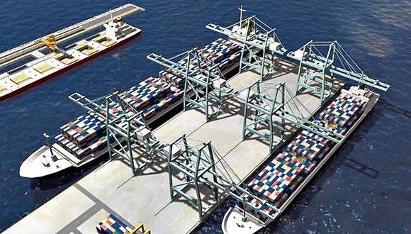 Chancay. Primera fase del futuro puerto (Foto: Difusión)